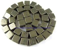 100% Natura 8mm Square Pyrite Loose Beads 15''