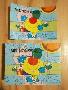 RARE Vintage MR. MEN Wooden Block Puzzle. 1984. Roger Hargreaves. MR. HAPPY,...