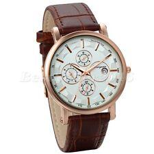 Fashion Mens Brown Leather Band Date Sport Quartz Business Analog Wrist Watch