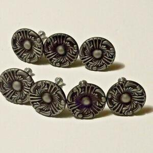 """7 Vintage Black and Gray Metal Drawer Knobs Pulls Handles Flowers 1 1/2"""""""