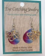 Fashion Earrings -Made with Fishing Lures- octopus charms - pink blue silver