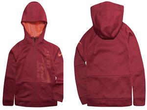 Nike Big Boys Therma Full-Zip Hoodie Dri-Fit Fleece Top Size: L Burgundy