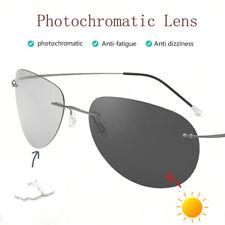 Men Rimless Titanium Polarized Photochromic Sunglasses Chameleon Transition Lens