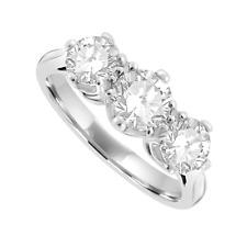 ORO bianco 18 carati diamante 8-Artiglio antico impostazione della trilogia Anello 1.50 Carati H-SI