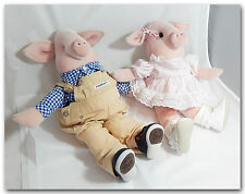 BABY STUFFED ANIMALS PIGS COUPLE BOY w/ HEALTH TEX OVERALLS GIRL w/ CRADLE TOGS