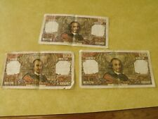 FRANCE 100 Francs Banknotes (Lot of 3) 1970, 1973, 1975 Usual Stapling, Folded