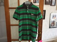 Superdry Green Striped Polo T-shirt Size M Mens