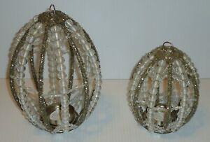 "Pottery Barn Beaded Egg Votive Candle Holder Hang Table Top Sm 5.5""  Lg 7.5"""
