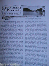 Trout Fishing in Reservoirs Fly Cabau Coch Elan Rare Old  Antique Article 1908