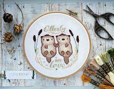 Otter couple cross stitch kit, love, embroidery pattern, couple gifts, wedding