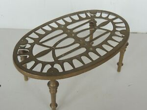 Old Primitive Hearth Trivet Fireplace Stand Four Legs Brass Cast Vintage Kitchen