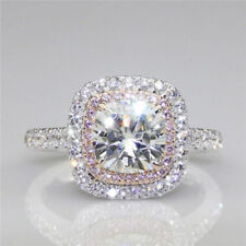 3.05 Carat White and Pink Round Diamond Halo Engagement Ring in Sterling Silver