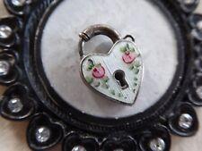 Vtg Sterling White Guilloche Ename Heart Padlock Chram Pink Roses NEEDS NO KEY