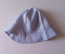 Blue and White striped  Vintage 1970s Baby Sun hat   label Mothercare