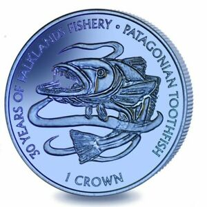 2017 Falkland Islands Patagonian Toothfish Blue Green Titanium Coin w/box COA