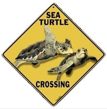 "Sea Turtles Aluminum Crossing Sign, 12"" on sides, 16"" on diagonal"