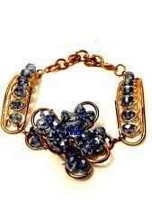 Womens Statement Gold Blue Crystal Diamante Rhinestone Chain Bracelet Wedding