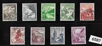 #6587   Complete 9 stamp set 1938 Winter relief fund Germany ScB123-B131