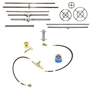 Create Your Own Gas Fire Feature w/ Pre-Plumbed Gas Kit - Choose Burner and Pan