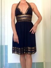 Adrianna Papell Silk Sequin Halter Neck Dress Size 4