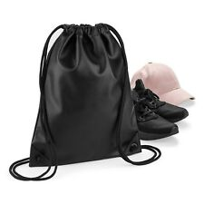 Black Faux Leather Drawstring Bag School Book Sport Gym Swim PE Dance Shoe Sack