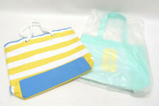 LOT OF 2 CLINIQUE TOTES: YELLOW STRIPE BEACH, TEAL GREEN ~ BOTH NWOT
