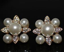 Multi Pearl Silver Crystals Gold Tone Statement Big Stud  Earrings UK Shop