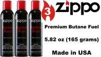 3X Genuine ZIPPO PREMIUM Lighter Butane Fuel Gas Refill 5.82oz 165g (3 Cans) USA
