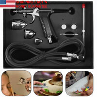 3 Tips 3 Cups All-Purpose Gravity Dual-Action Spray Gun Trigger Airbrush Set
