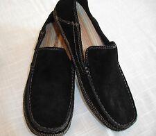 HUSH PUPPIES PROFILE FOLD DOWN Solid Black Suede Slip On Shoes Mens Sz 10 M NIB