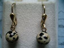 Dalmatinerjaspis Ohrhänger Gold 333,Ohrhänger Gold mit Jaspis Schwarz Weiss10 mm