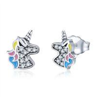 Earrings Stud Unicorn Cubic Zirconia Women 925 Sterling Silver