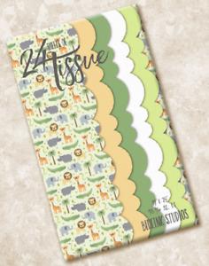 24 sheets Blueink Studios ANIMAL SAFARI Scalloped Tissue Paper T-410