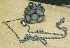 "Vintage Snuff Bottle 1.5"" dia .75"" Thick Mother of Pearl lid  29"" Chain Necklace"