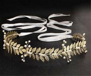 Women Bride BOHO Metallic Gold Leaf Pearl Waist Dress Belt Waistband Band Tie