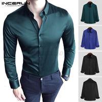 Mens Satin Silky Dress Shirt Long Sleeve Slim Business Formal Casual Smart Tops