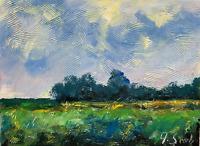 sunny meadows impressionist California LANDSCAPE Original PAINTING Semberecki