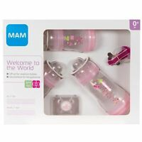 MAM Wecome to the World Set 0+ Months Includes Bottles, Soother & Clip - Pink