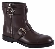 NEW Gucci Men's 368430 $1,095 Leather Sella Ankle Biker Boots Shoes 8.5 G 9.5 US