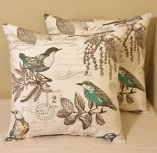 Set of 2 bird old postcard pillow covers shams 16 x 16 cotton duck off white