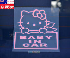 Lovely Kitty Cat Pink Baby In Car / On Board Car Vinyl Sticker Decal Newborn12cm