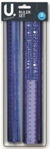 "3 Piece Ruler & Stencil Set 12"" 6"" 30 cm Ruler Back to School Office Stationery"