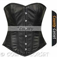 Full Steel Boned Victorian Overbust Bustier Gothic Black Real Leather Corset