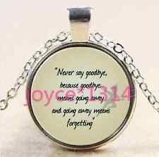 Glass Chain Pendant Necklace #2386 Vintage Peter Pan Cabochon Tibetan silver