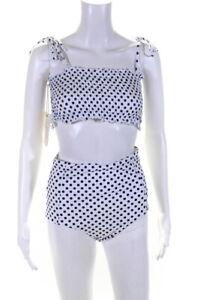 Verdelimon Womens Polka Dot Bikini Bathing Suit White navy Blue Size Large