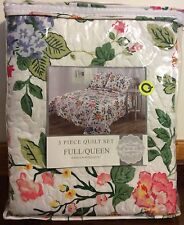 3 Pc. Floral Quilt & Sham Set Full/Queen Size Multi Color Handcrafted Quilt