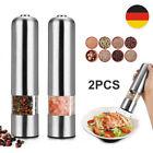 2er SET Elektrische Salzmühle Pfeffermühle Gewürz Mühle Streuer mit Lampe DHL