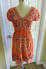 Maurices S Small Orange Red Black Paisley Floral Summer Sun Dress Bandana Boho