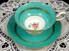 GROSVENOR TURQUOISE SPECKLED FLORAL WIDE LARGE TEA CUP AND SAUCER