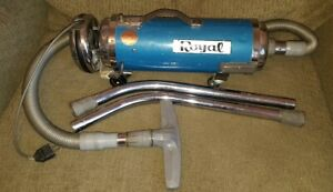 Vtg Royal Canister Vacuum Cleaner Blue 401 Accessories As Is Parts Powers On